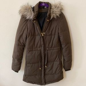 H&M Divided Brown Faux Fur Winter Jacket Size 2 S